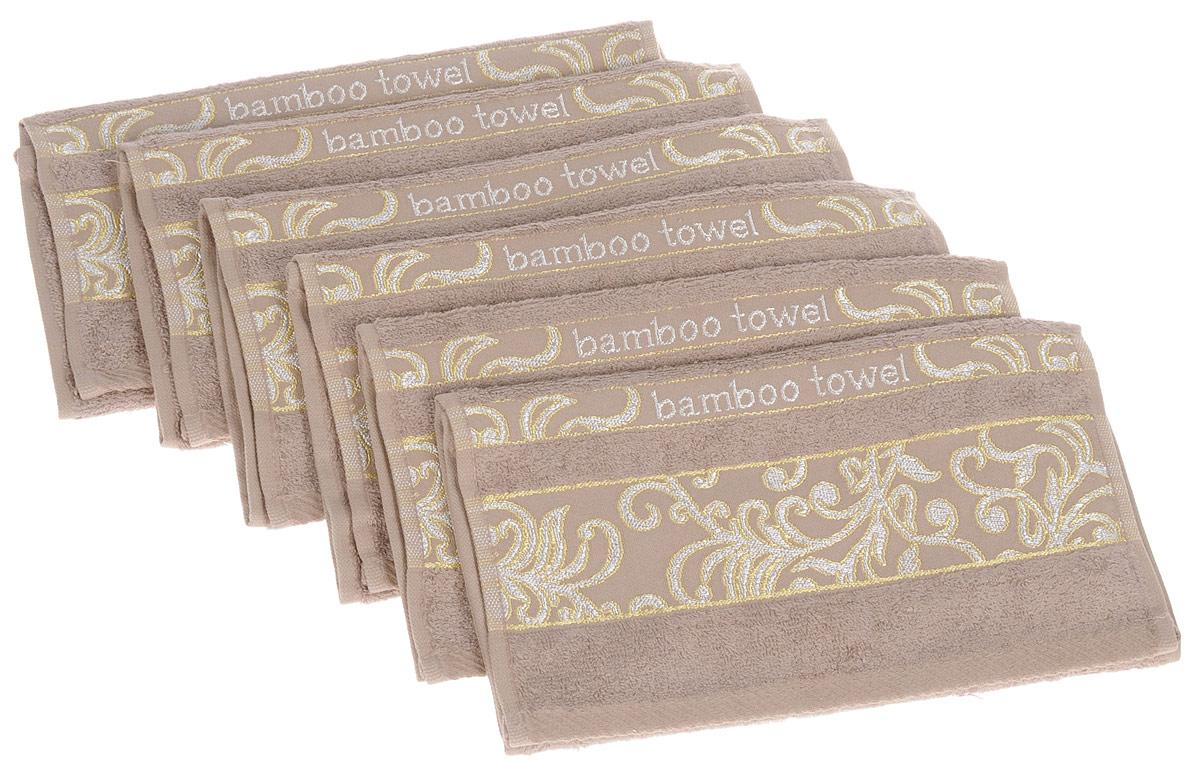 Набор полотенец Brielle Bamboo. Jacquard, цвет: мокко, 30 х 50 см, 6 шт531-105Набор Brielle Bamboo. Jacquard состоит из шести полотенец, выполненных из бамбука с содержанием хлопка. Изделия очень мягкие, они отлично впитывают влагу, быстро сохнут, сохраняют яркость цвета и не теряют формы даже после многократных стирок. Одна из боковых сторон оформлена оригинальным узором и надписью. Полотенца Brielle Bamboo. Jacquard очень практичны и неприхотливы в уходе. Такой набор послужит приятным подарком.