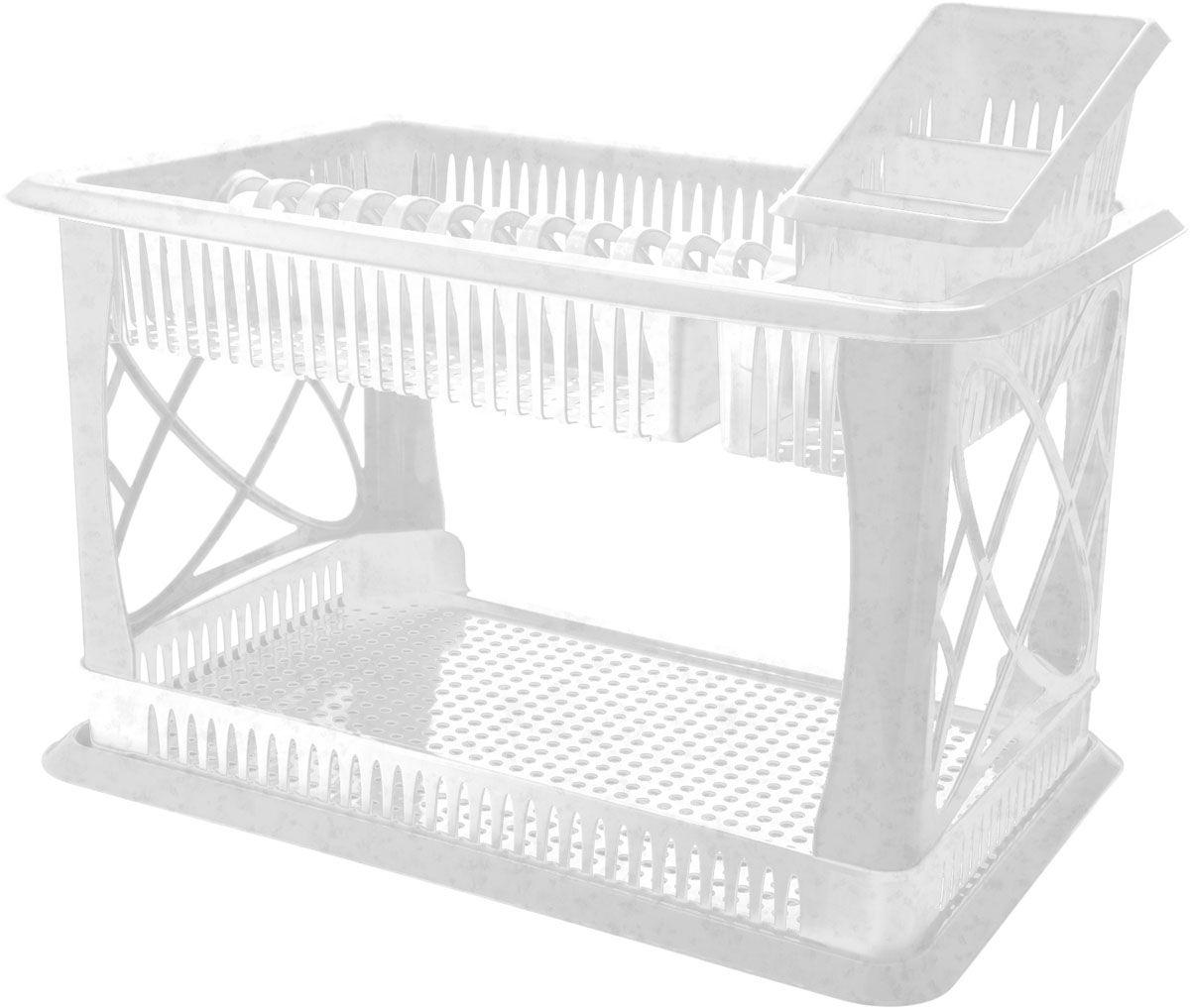 Сушилка для посуды Plastic Centre Лилия, 2-ярусная, с поддоном, с сушилкой для столовых приборов, цвет: мраморный, 49 х 17,5 х 32,5 смВетерок 2ГФДвухъярусная сушилка для посуды выполнена из пластика. Изделие оснащено поддоном для стекания воды и подставкой для столовых приборов и стаканов. Сушилка может быть установлена как на столе, так и подвешена на стену при помощи крючков (не входят в комплект). Размер сушилки (с учетом подставок): 49 х 17,5 х 32,5 см.Размер поддона: 47 х 30 х 2,5 см.