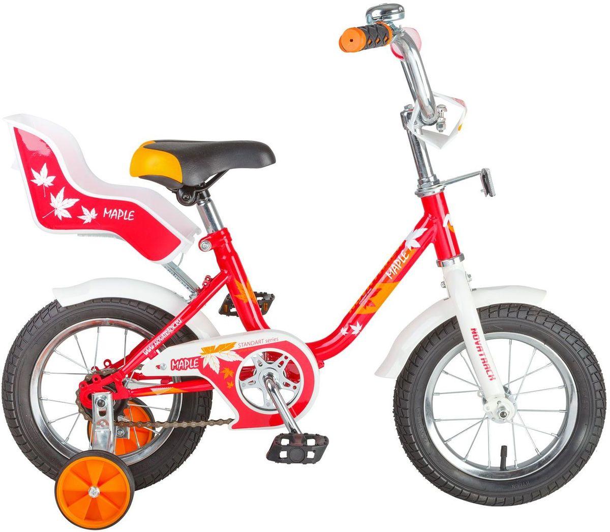 Велосипед детский Novatrack Maple, цвет: красный, белый, 12124MAPLE.RD7Novatrack Maple – это надежный велосипед для девочек 2-4 лет, на котором очень легко начинать обучение езде на велосипеде и который обязательно станет предметом гордости маленькой леди. Регулируемые сидение и руль легко адаптируются под рост ребенка. Маленькие дополнительные колеса снимаются. Отличительная особенность этого велосипеда – это сидение для куклы, ведь как можно не взять с собой подругу на велопрогулку? Велосипед оснащен ножным тормозом, которым ребенку легко пользоваться, защитой цепи, которая убережет нижнюю часть одежды от попадания в механизм. Велосипед оборудован ограничителем поворота руля, который не позволит вывернуть руль на слишком большой градус, тем самым обезопасит ребенка от опрокидывания.