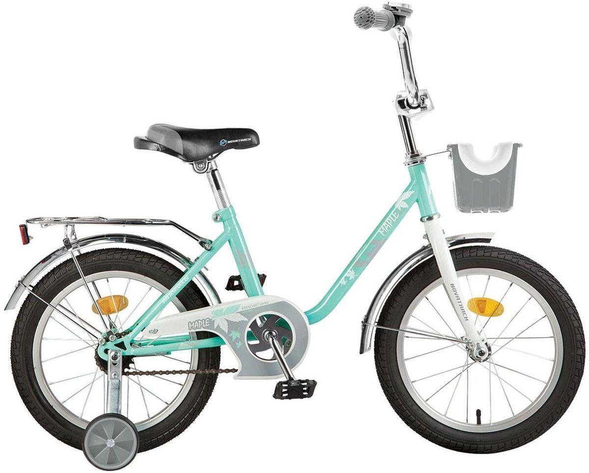 Велосипед детский Novatrack Maple, цвет: зеленый, 16WRA523700Novatrack Maple 16 это надежный велосипед для девочек 5-7 лет, на котором очень легко начинать обучение езде на велосипеде, и который обязательно станет предметом гордости маленькой леди. Регулируемые сидение и руль легко адаптируются под рост ребенка. Маленькие дополнительные колеса снимаются. Отличительная особенность этого велосипеда дополнительная комплектация корзинкой на руле модели красного цвета и сиденьем для куклы модели фиолетового цвета. Велосипед оснащен ножным тормозом, которым ребенку легко пользоваться, защитой цепи, которая убережет нижнюю часть одежды от попадания в механизм. Для того, чтобы привлечь внимание прохожих, на руль установлен красивый и блестящий звоночек, который оповестит зевак об обгоне. Зеленый велосипед оснащен багажником, на котором можно перевозить маленьких друзей.