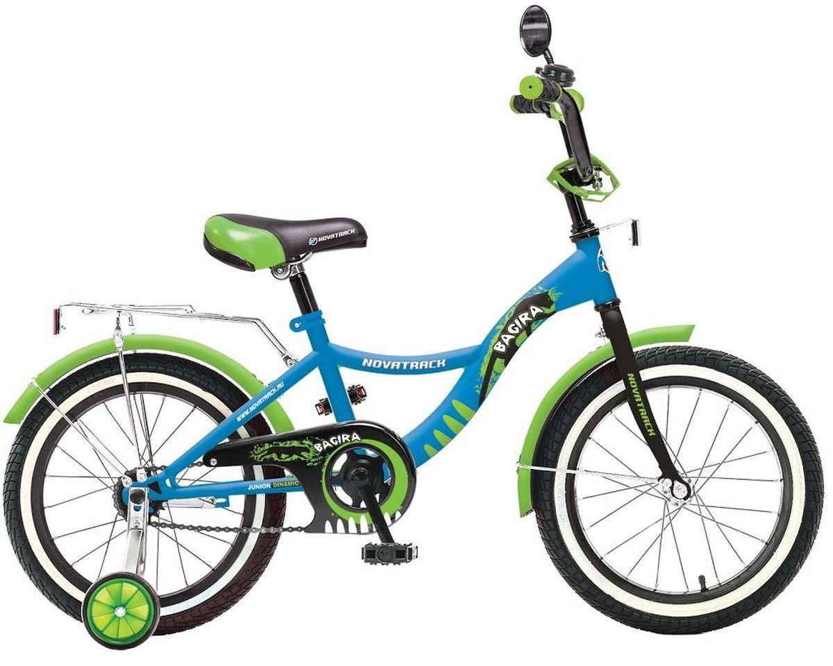 Велосипед детский Novatrack Багира, цвет: синий, зеленый, 20Z90 blackВелосипед Novatrack Багира с 20-дюймовыми колесами - это современный, удобный и безопасный велосипед для девочек от 7 до 10 лет. Велосипед укомплектовали мягким регулируемым седлом, которое обеспечит удобную посадку во время катания. Руль велосипеда также регулируется по высоте и наклону, благодаря чему велосипед прослужит ребенку не один год. Данная модель маневренна и легка в управлении, поэтому ребенку будет просто и интересно учиться кататься на велосипеде. По бокам имеются съемные дополнительные колеса, которые нужны до тех пор, пока ребенок не почувствует себя уверенно. Быстро затормозить поможет ножной тормоз. Для перевозки девчачьих аксессуаров и всяких нужностей велосипед оснастили багажником. На руле установлен звонкий гудок и зеркальце, без которого не может обойтись ни одна модница. Над колесами располагаются хромированные крылья, которые защитят от брызг и грязи.
