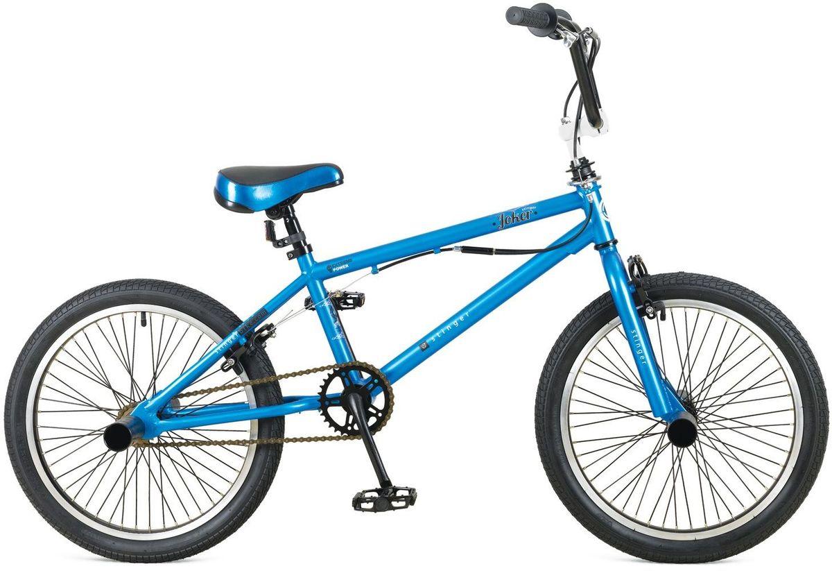 Велосипед Stinger BMX Joker, цвет: синий, 20MW-1462-01-SR серебристыйBMX JOKER – это велосипед предназначенный для выполнения трюков. Его заниженная рама на основе прочной стали и жесткая вилка формируют надежную конструкцию для катания в различных стилях: стрит, парк, флетленд и других. Данная модель оснащена гироротором, благодаря которому, можно осуществлять поворот руля на 360 и более градусов, и надежными тормозами V-brake. BMX JOKER отличается своей долговечностью, простотой в обслуживании и универсальностью.