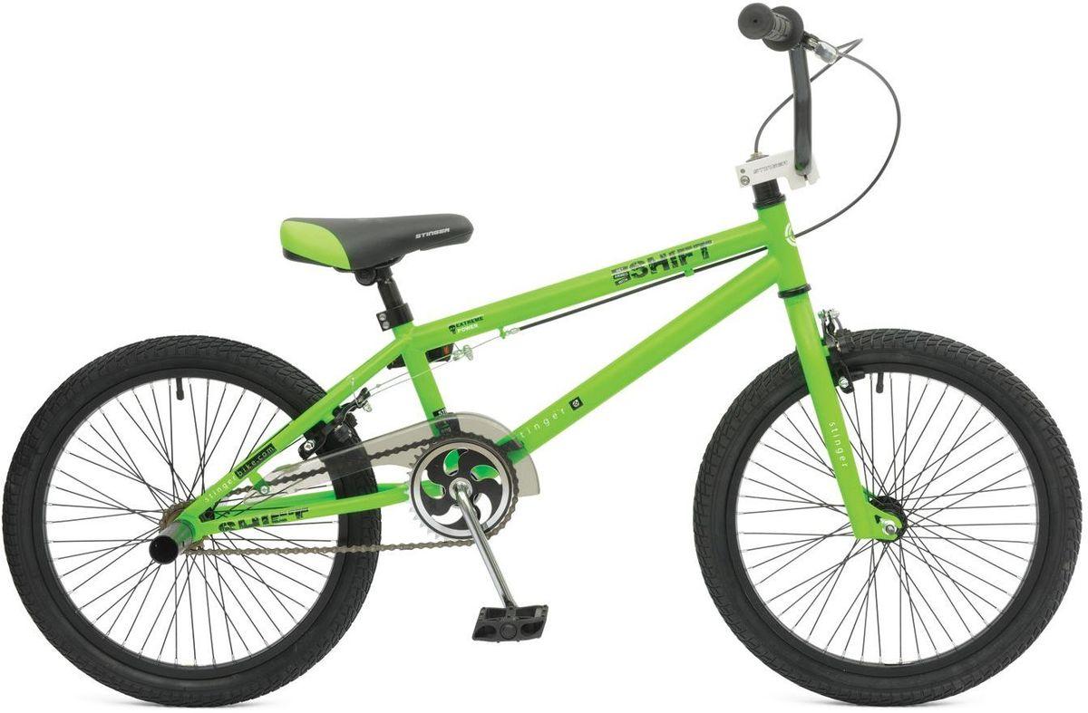 Велосипед Stinger BMX Graffiti, цвет: зеленый, 20 велосипед stinger х52647 bmx ace black matt