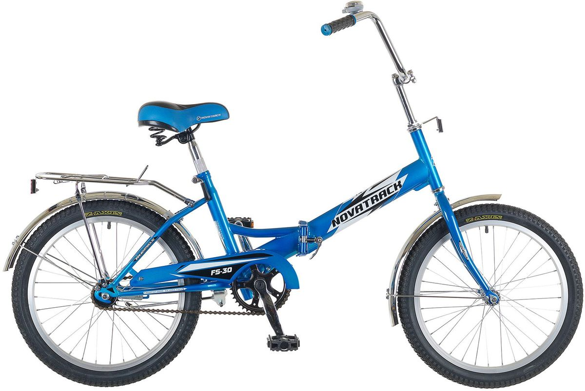 Велосипед детский Novatrack FS-30, цвет: синий, белый, черный, 20WRA523700Novatrack FS-30 - это складной подростковый велосипед, рассчитанный на ребят 8-14 лет, который отличается неприхотливостью, хорошей управляемостью и практичностью. Стальная рама складывается пополам, позволяя разместить велосипед в автомобиле или компактно хранить его в домашних условиях. Стоит отметить широкий диапазон регулировки высоты сидения и руля, благодаря чему велосипед универсален и подойдет для ребят различного роста. Торможение осуществляется ножным тормозом, который работает при любых условиях. Велосипед оснащен хромированными крыльями, широким усиленным багажником, защитным кожухом цепи, подножкой и светоотражателями.