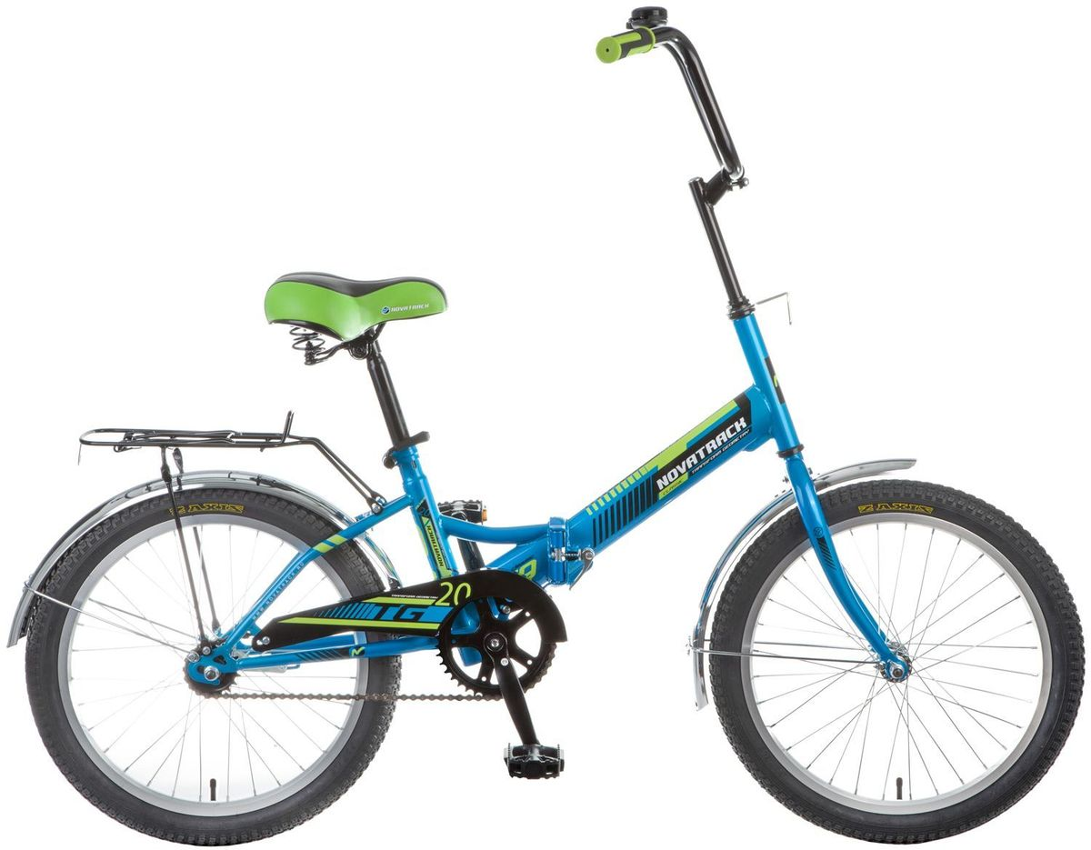 Велосипед детский Novatrack TG-20 Classic, цвет: синий, зеленый, 2020FTG201.BL7Novatrack TG-20 Classic - это современный, удобный и безопасный складной велосипед, катаясь на котором ребенок не только будет укреплять здоровье и развиваться физически, но и получит море удовольствия. Велосипед благодаря своей универсальности подойдет подойдет абсолютно всем . Его отличает надежность, неприхотливость и отличная управляемость - несмотря на то, что его можно отнести к категории городских, он отлично показывает себя на парковых и дачных дорогах. Стильная расцветка, усиленный багажник, ножной тормоз - это еще не все преимущества данной модели. Велосипед оснащен защитой цепи, которая обезопасит нижнюю часть одежды от попадания в механизм. Мягкое и удобное сидение велосипеда позволит с комфортом кататься хоть по несколько часов подряд. Сидение и руль регулируются по высоте и надежно фиксируются. Встроенная подножка позволяет велосипеду принять устойчивое положение во время стоянки. Прочная стальная рама складывается пополам, что позволяет перевозить велосипед в машине или компактно хранить его в домашних условиях.