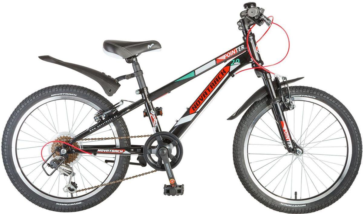 Велосипед детский Novatrack Pointer, цвет: черный, красный, 2020SH6V.POINTER.BK7Велосипед Novatrack Pointer - это велосипед для ребят 7-10 лет, который станет предметом гордости юного велогонщика, ведь на нем можно переключать скорости и тормозить передним и задним тормозом. Вилка велосипеда оснащена амортизаторами, которые превращают велосипед в настоящий байк как у взрослых. Переключение передач осуществляется задним переключателем, который, для надежности, закрыт металлической защитой. Высота сидения и руля регулируются под рост ребенка, благодаря чему велосипед прослужит не один год. Велосипед предназначен для активной езды и готов к любым испытаниям на детской площадке, в парке и других местах, пригодных для катания.