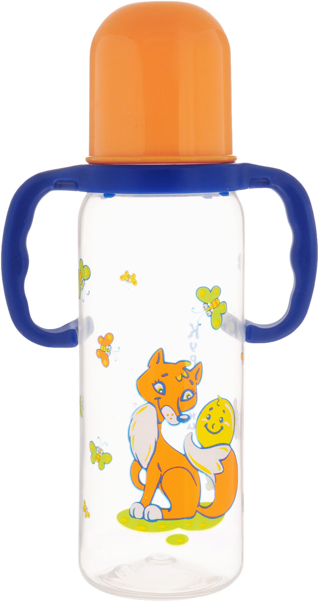 Курносики Бутылочка для кормления Колобок от 6 месяцев цвет оранжевый синий 250 мл