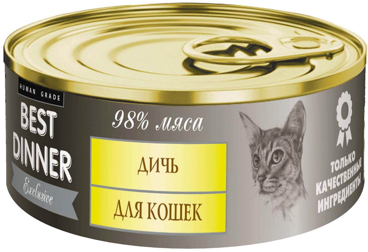Консервы для кошек Best Dinner Эксклюзив, с дичью, 100 г63917Мясные консервы для кошек Best Dinner - продукты наивысшего качества, обладают изысканным вкусом, сбалансированным составом для правильного питания и здоровой жизни кошки. Изготовлены только из натуральных компонентов без искусственных красителей, консервантов и ароматизаторов.Состав: мясо перепелиное, мясо утки, масло подсолнечное, желирующая добавка, таурин, соль, автолизат пивных дрожжей, вода питьевая.В 100 г содержится: сырой протеин, не менее 10,5 г; сырой жир, не более 12,5 г; сырая зола, не более 2,0 г; таурин 0,2 г; поваренная соль 0,3–0,7 г; влага, не более 85 %.Минеральные вещества в 100 г продукта: общий фосфор, не более 0,5 г; кальций, не более 0,3 г.Энергетическая ценность 100 г продукта: 154,5 ккал.Условия хранения: при температуре от 0 до 25 °C и относительной влажности воздуха не более 75 %.Рекомендуется употреблять при комнатной температуре.После вскрытия потребительской упаковки продукт хранить в холодильнике не более 2 суток.Суточная норма: 30 - 50 г на 1 кг веса животного, кормление в два приема. Товар сертифицирован.