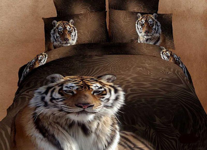 Комплект белья МарТекс Тигры, евро, наволочки 50х70, 70х70SVC-300Комплект постельного белья МарТекс Тигры, выполненный из сатина (100% хлопок), состоит из пододеяльника, простыни и четырех наволочек. Изделия оформлены оригинальным рисунком. Сатин - прочная, легкая и мягкая на ощупь ткань. Белье из него нелиняет при стирке и легко гладится. Эта ткань традиционно считаетсяодной из лучших для изготовления постельного белья.Такой комплект подойдет для любого стилевого и цветового решения интерьера, а также создаст в доме уют. Приобретая комплект постельного белья МарТекс, вы можете быть уверенны в том, что покупкадоставит вам и вашим близким удовольствие и подарит максимальный комфорт.