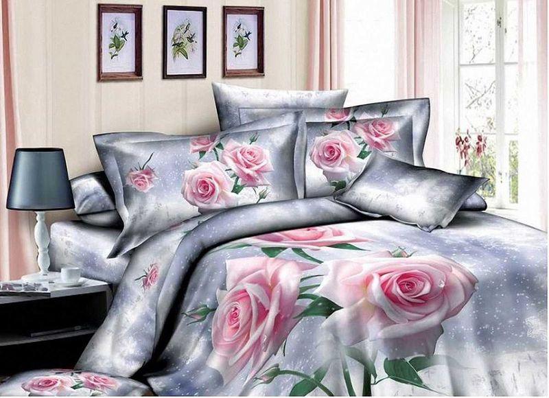 Комплект белья МарТекс Розовая роза, 1,5-спальный, наволочки 50х70SVC-300Комплект постельного белья МарТекс Розовая роза, выполненный из сатина (100% хлопок), состоит из пододеяльника, простыни и двух наволочек. Изделия оформлены оригинальным рисунком. Сатин - прочная, легкая и мягкая на ощупь ткань. Белье из него нелиняет при стирке и легко гладится. Эта ткань традиционно считаетсяодной из лучших для изготовления постельного белья.Такой комплект подойдет для любого стилевого и цветового решения интерьера, а также создаст в доме уют.