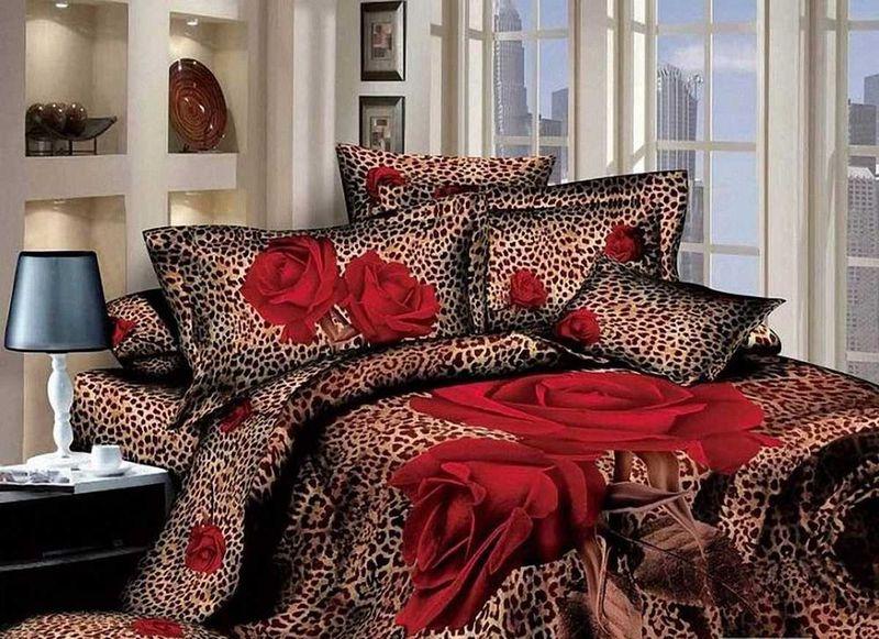 Комплект белья МарТекс Красная роза, семейный, наволочки 50х70, 70х70391602Комплект постельного белья МарТекс Красная роза, выполненный из сатина (100% хлопок), состоит из двух пододеяльников, простыни и четырех наволочек. Изделия оформлены оригинальным принтом. Сатин - прочная, легкая и мягкая на ощупь ткань. Белье из него нелиняет при стирке и легко гладится. Эта ткань традиционно считаетсяодной из лучших для изготовления постельного белья.Такой комплект подойдет для любого стилевого и цветового решения интерьера, а также создаст в доме уют.
