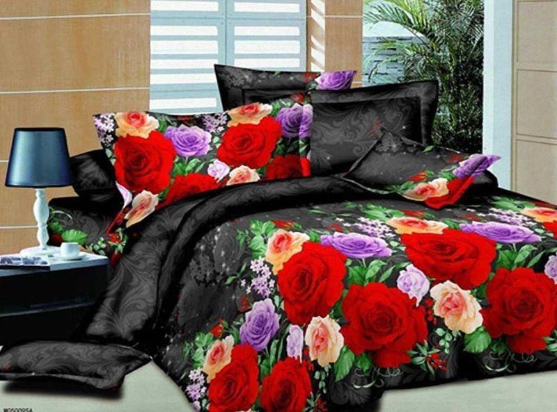 Комплект белья МарТекс, 2-спальный, наволочки 70х70. 01-1152-210503Комплект постельного белья МарТекс, выполненный из микрополиэстера, состоит из пододеяльника, простыни и двух наволочек. Изделия оформлены ярким цветочным принтом. Пододеяльник на молнии.Такой комплект подойдет для любого стилевого и цветового решения интерьера, а также создаст в доме уют.