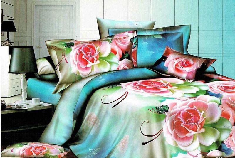 Комплект белья МарТекс, 1,5-спальный, наволочки 70х70. 01-1235-102030816770Комплект постельного белья МарТекс, выполненный из микрополиэстера, состоит из пододеяльника, простыни и двух наволочек. Постельное белье обладает яркими, сочными цветами. Изделия оформлены оригинальным рисунком.Такой комплект подойдет для любого стилевого и цветового решения интерьера, а также создаст в доме уют.