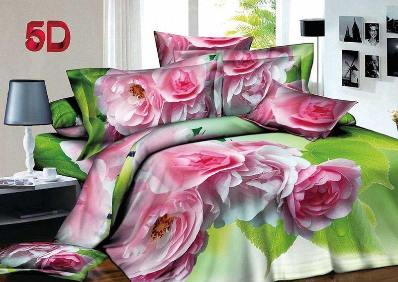 Комплект белья МарТекс, 1,5-спальный, наволочки 70х70. 01-1401-1SC-FD421005Комплект постельного белья МарТекс, выполненный из микрополиэстера, состоит из пододеяльника, простыни и двух наволочек. Постельное белье обладает яркими, сочными цветами. Изделия оформлены оригинальным принтом.Такой комплект подойдет для любого стилевого и цветового решения интерьера, а также создаст в доме уют.