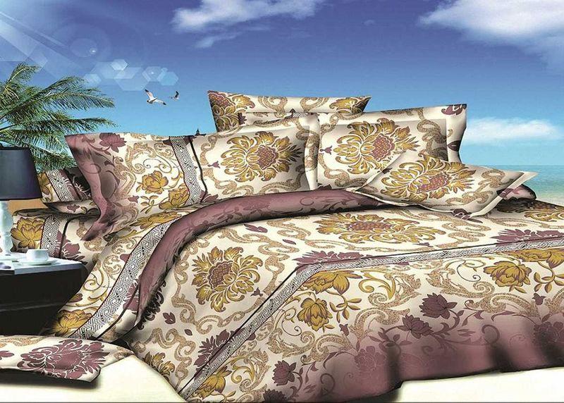 Комплект белья МарТекс, евро, наволочки 50х70, 70х70. 01-1405-3SVC-300Комплект постельного белья МарТекс, выполненный из микрополиэстера, состоит из пододеяльника, простыни и четырех наволочек. Изделия оформлены изящным рисунком. Пододеяльник на молнии.Такой комплект подойдет для любого стилевого и цветового решения интерьера, а также создаст в доме уют.