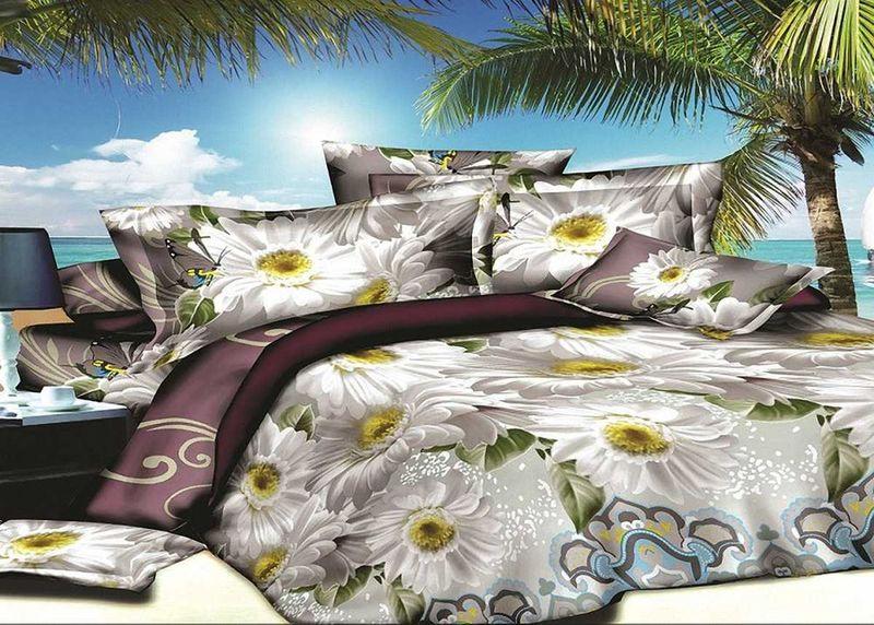 Комплект белья МарТекс, 1,5-спальный, наволочки 70х70. 01-1413-1FD 992Комплект постельного белья МарТекс, выполненный из микрополиэстера, состоит из пододеяльника, простыни и двух наволочек. Изделия оформлены оригинальным цветочным принтом.Такой комплект подойдет для любого стилевого и цветового решения интерьера, а также создаст в доме уют.