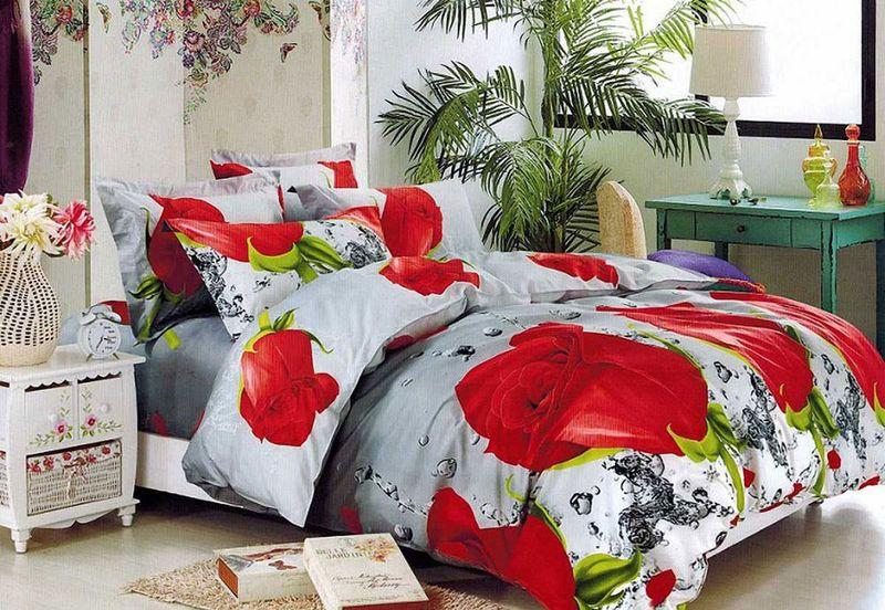 Комплект белья МарТекс, 1,5-спальный, наволочки 70х70. 01-1562-1SVC-300Комплект постельного белья МарТекс, выполненный из микрополиэстера, состоит из пододеяльника, простыни и двух наволочек. Изделия оформлены оригинальным цветочным принтом.Такой комплект подойдет для любого стилевого и цветового решения интерьера, а также создаст в доме уют.