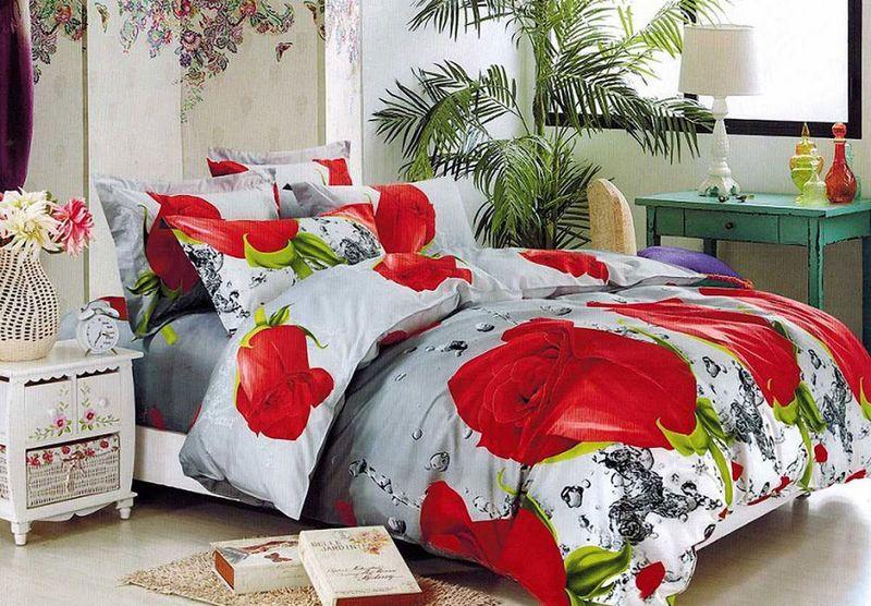 Комплект белья МарТекс, 2-спальный, наволочки 70х70. 01-1563-2CLP446Комплект постельного белья МарТекс, выполненный из микрополиэстера, состоит из пододеяльника, простыни и двух наволочек. Изделия оформлены изящным рисунком. Пододеяльник на молнии.Такой комплект подойдет для любого стилевого и цветового решения интерьера, а также создаст в доме уют.