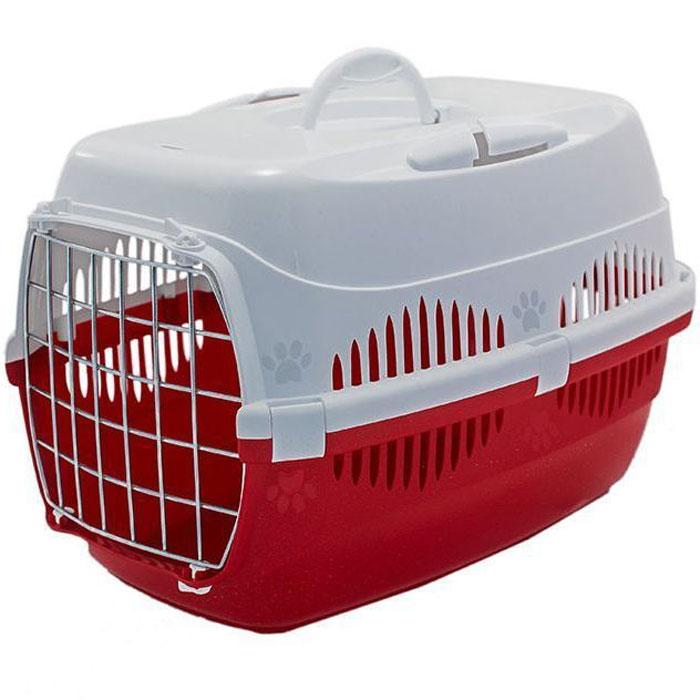 Переноска для животных ZooM. Спутник, с металлической дверцей, с наплечным ремнем, до 12 кг, цвет: красный, белый, 33 х 49 х 32 см