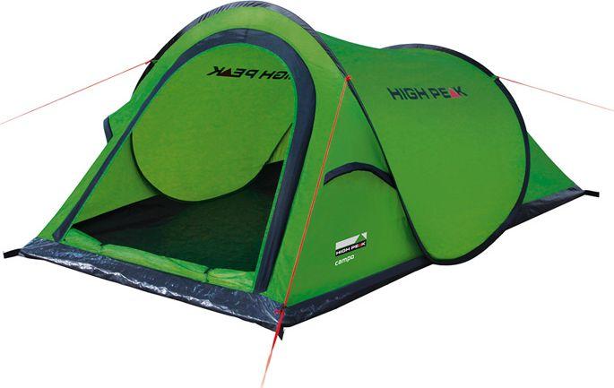 Палатка High Peak Campo, цвет: зеленый, 220 х 120 х 90 см. 10106KOC-H19-LEDОднослойная туристическая палатка High Peak Campo имеет систему быстрой установки. Эта система позволяет установить палатку в считанные секунды. Имеет четыре оттяжки, что достаточно для фиксации даже в ветреную погоду. Несколько вентиляционных окон позволяют хорошо проветривать палатку даже при закрытом входе. Длина 220 см, ширина 120 см и высота 90 см позволяют комфортно разместиться внутри двум туристам. На входе окно с москитной сеткой. Швы проклеены.Дуги: фибергласс 5 мм.Тент: полиэстер 190Т 1500 мм, швы проклеены.Дно: Армированный полиэтилен (3000 мм).