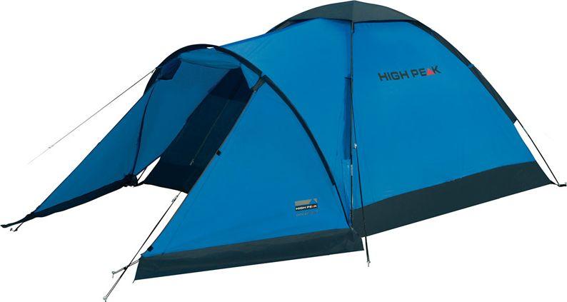 Палатка High Peak Ontario 3, цвет: синий, темно-серый, 305 х 180 х х 120 см. 1017167742Трехместная палатка High Peak Ontario 3 отлично подойдет для летних путешествий. Большой купол для просторной спальни и большой тамбур для снаряжения и обуви. Тамбур по периметру защищен юбкой от ветра, дождя и комаров. Палатка быстро устанавливается на фиберглассовые дуги, продеваемые во внешние рукава на тенте. В верхней части купола расположена вентиляция типа гриб. Материал тента имеет полиуретановое покрытие и водонепроницаемость не менее 1500 мм водяного столба. Швы проклеены. Это защищает от ветра и дождя. Палатка имеет 6 оттяжек, которые позволяют хорошо зафиксировать палатку во время ветра. Вход в палатку защищает тканевый полог, а если погода жаркая, то можно оставить только москитную сетку на входе. Дуги: фибергласс 7,9 мм.Тент: полиэстер 190Т 1500 мм, швы проклеены.Дно: армированный полиэтилен 3000 мм.