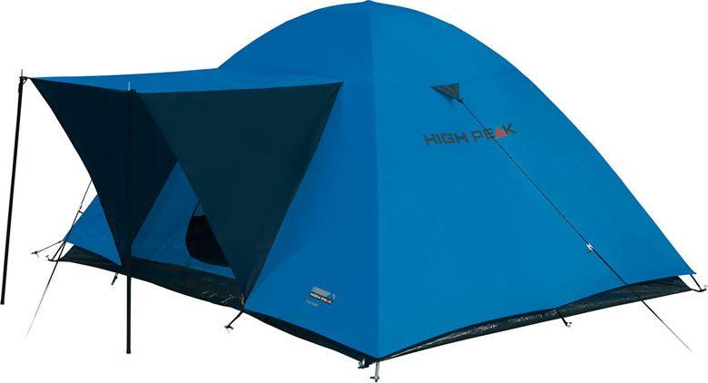 Палатка High Peak Texel 3, цвет: синий, серый, 220 х 180 х 120 см. 1017510175Просторная двухслойная палатка High Peak Texel 3 оснащен тентом-козырьком над входом, устанавливаемым на стальные стойки. Палатка устанавливается достаточно быстро. Сначала устанавливается внутренняя палатка из паропроницаемого материала. Если погода жаркая, и дождя не предвидится, то можно спать без внешнего тента. Если надо защититься от ветра и дождя, накидываете внешний тент. Материал тента имеет полиуретановое покрытие и водонепроницаемость не менее 1500 мм водяного столба. Швы проклеены. Вход в палатку защищает тканевый полог, а если погода жаркая, то можно оставить закрытой только москитную сетку на входе. Рекомендуется использовать эту палатку в летнее время для походов выходного дня.Дуги: фибергласс 7,9 мм/сталь 16 мм.Тент: полиэстер 1500 мм, швы проклеены.Дно: армированный полиэтилен (3000 мм).