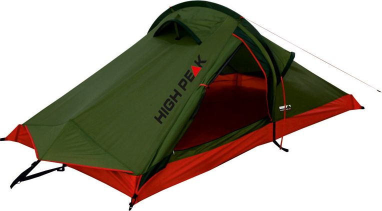 Палатка High Peak Siskin, цвет: зеленый, красный, 230 х 120 х 90 см. 1018367742Легкая и компактная палатка High Peak Siskin отлично подойдет для легкоходов и велосипедистов. Палатка проста в установке, фиберглассовая дуга продевается в рукав на внешнем тенте, что позволяет устанавливать палатку даже дождь. Материал тента имеет полиуретановое покрытие и водонепроницаемость не менее 3000 мм водяного столба. Это защищает от сильного ветра и дождя. Все швы проклеены термоусадочной лентой, гарантирующей, что влага не проникнет сквозь них. Вентиляционное окно со стороны торца и два вентиляционных окна в верхней точке палатки позволяют неплохо проветривать палатку даже при полностью застегнутом боковом входе. В жаркую погоду можно открыть тканевый полог входа и закрыть вход москитной сеткой для лучшей вентиляции. Палатка имеет 4 оттяжки, что позволяет надежно ее фиксировать во время ветреной погоды.Дуги: фибергласс 7,9 мм.Тент: полиэстер 3000 мм.Дно: полиэстер 3000 мм.