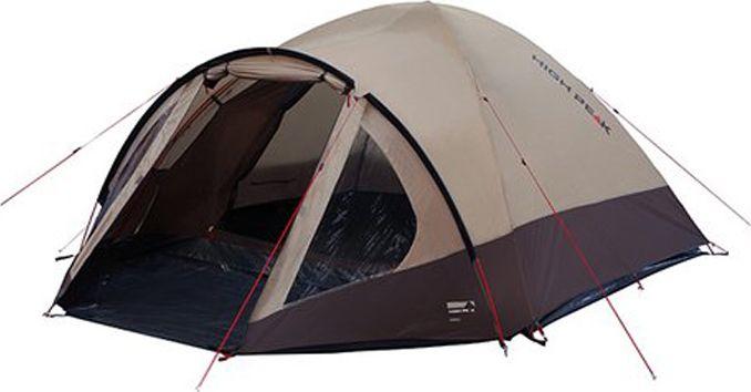 Палатка High Peak Talos 4, цвет: коричневый, 320 х 240 х 130 см. 11459WS 7064Большая комфортная палатка High Peak Talos 4 отлично подойдет для походов с апреля по сентябрь. Ее можно использовать как для трекинга, так и для семейных выездов. Палатка двухслойная, легко устанавливается за 5-7 минут. Сначала устанавливается внутренняя палатка из паропроницаемого материала. Если погода жаркая, и дождя не предвидится, то можно спать без внешнего тента. Вход во внутреннюю палатку можно закрыть тканевым пологом или москитной сеткой. Размер палатки по периметру составляет почти 5.3 кв. м и позволяет четверым отдыхающим с комфортом расположиться на ночлег. Если надо защититься от ветра и дождя, накиньте внешний тент и проденьте третью дугу в рукав тента для формирования тамбура. В тамбуре дно из армированного полиэтилена, на которое можно выложить вещи, не опасаясь их испачкать. Материал тента палатки имеет полиуретановое покрытие и водонепроницаемость не менее 4000 мм водяного столба. Это позволяет защититься от сильного ветра и дождя. Все швы проклеены термоусадочной лентой, гарантирующей, что влага не проникнет сквозь них. При фиксации всех шести оттяжек палатка имеет высокую ветроустойчивость. Оттяжки яркого цвета, чтобы не запутаться в них в сумерках. Окно для лучшей вентиляции находится в верхней точке купола палатки. Во внутренней палатке имеются кармашки для разных мелочей. Внутренняя палатка с системой контроля воздуха Vario Vent Control System.Дуги: фибергласс 8,5 мм.Тент: полиэстер 4000 мм.Дно: армированный полиэтилен 5000 мм.