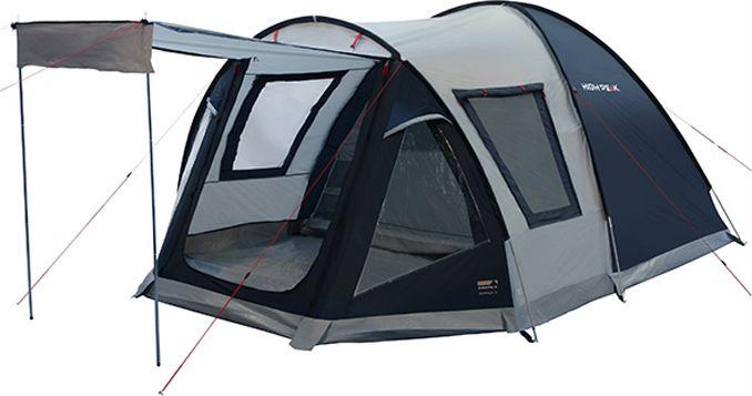 Палатка High Peak Santiago 5, цвет: светло-серый, темно-серый, 430 х 280 х 190/175 см. 11800перфорационные unisexОтличная просторная палатка High Peak Santiago 5 подойдет для семейного кемпинга и летних поездок в отпуск. Конструкция палатки с внешними дугами позволяет использовать ее как огромный купол для столовой или кухни. Вечером вы за несколько минут подвешиваете внутреннюю спальню и с комфортом располагаетесь на ночлег. Размер спальни по периметру почти 6 м2, этого хватит на семью из пяти человек для комфортной ночевки. Высота внутренней палатки и тамбура позволяет стоять взрослому в полный рост. Пол из армированного полиэтилена закреплен как в спальне, так и в тамбуре. Он защитит вещи от песка и травы. В тамбуре можно установить столик и несколько стульев. В жаркую погоду можно сделать козырек над входом в палатку из тканевого полога, который обычно закрывает вход, при этом перекрыть отверстие входа москитной сеткой. Также для улучшения вентиляции можно открыть большое боковое окно, которое тоже оснащено москитной сеткой. В дождливую погоду, когда вход и боковое окно закрыты, сквозная вентиляция осуществляется при помощи двух окон у входа в палатку и одного окна со стороны спальни. Внутренняя спальня имеет множество кармашков для различных мелких вещей. Проход в спальню можно перекрыть пологом из ткани или москитной сеткой. Внешний тент палатки покрыт полиуретаном (4000 мм), а все швы проклеены термоусадочной лентой, что позволяет защитить вас от ветра и дождя. Палатка обладает хорошей ветроустойчивостью благодаря множеству оттяжек. Оттяжки ярких цветов, чтобы не запутаться в них в сумерках.Дуги: фибергласс 11 мм /сталь 16 мм.Тент: полиэстер 4000 мм.Дно: армированный полиэтилен 4000 мм.