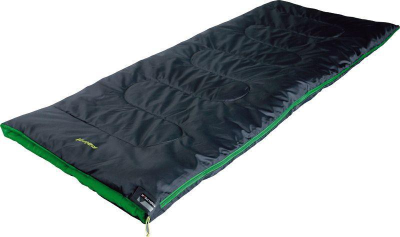 Спальный мешок-одеяло High Peak Patrol, цвет: антрацит, зеленый, левосторонняя молния010-01199-23Летний спальник-одеяло High Peak Patrol предназначен для походов выходного дня или семейных выездов на пикник. В верхней части молния фиксируется клапаном на липучке Velcro. На молнии 2 бегунка, которые позволяют расстегнуть спальник со стороны ног и сделать вентиляционное окно. Спальники, имеющие левую и правую молнии, можно состегивать, чтобы получить большой спальник на двух человек. Спальник утеплен высокоэффективным полым волокном Hollowfiber с силиконовым покрытием волокон. Плотность утеплителя равна 200 г/м2. В комплекте со спальником идет транспортировочный чехол объемом 9,7 л.