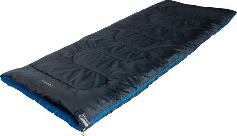 Спальный мешок-одеяло High Peak Ceduna, цвет: антрацит, синий, левосторонняя молния20062Спальник-одеяло High Peak Ceduna предназначен для летних путешествий. В верхней части молния фиксируется клапаном на липучке Velcro. На молнии 2 бегунка, которые позволяют расстегнуть спальник со стороны ног и сделать вентиляционное окно. Спальники, имеющие левую и правую молнии, можно состегивать, чтобы получить большой спальник на двух человек. В спальнике используется высокоэффективный утеплитель Hollowfiber, состоящий из полого полиэстерового волокна с силиконовым покрытием. Плотность утеплителя равна 300 г/м2. В комплекте со спальником идет транспортировочный чехол.
