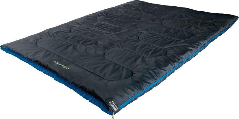 Спальный мешок-одеяло High Peak Ceduna Duo, цвет: антрацит, синий, левосторонняя молния010-01199-23Двойной спальник-одеяло High Peak Ceduna Duo подойдет для семейного кемпингового отдыха. Позволяет разместиться паре или маме с ребенком. Внутренняя ткань спальника очень мягкая и шелковистая. В верхней части молния фиксируется клапаном на липучке Velcro. На молнии 2 бегунка, которые позволяют расстегнуть спальник со стороны ног и сделать вентиляционное окно. В спальнике используется высокоэффективный утеплитель Hollowfiber, состоящий из полого полиэстерового волокна с силиконовым покрытием. Плотность утеплителя равна 300 г/м2. В комплекте со спальником идет транспортировочный чехол.