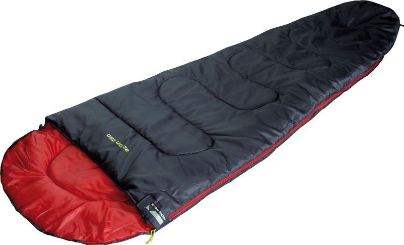 Спальный мешок High Peak Action 250, цвет: антрацит, красный, левосторонняя молния010-01199-23Для летних походов подойдет легкий и компактный спальник High Peak Action 250. В случае прохладной ночи можно затянуть стропу на подголовнике и защитить голову. Чтобы получить большой двойной спальник, соедините 2 спальника с левой и правой боковой молнией. В верхней части молния фиксируется клапаном на липучке Velcro. На молнии 2 бегунка, которые позволяют расстегнуть спальник со стороны ног и сделать вентиляционное окно. Спальник утеплен высокоэффективным полым волокном Dura Loft с силиконовым покрытием волокон. Плотность утеплителя равна 250 г/м2 с обеих сторон спальника. В комплекте со спальником поставляется транспортировочный чехол. Объем спального мешка в чехле составляет 12,8 л.