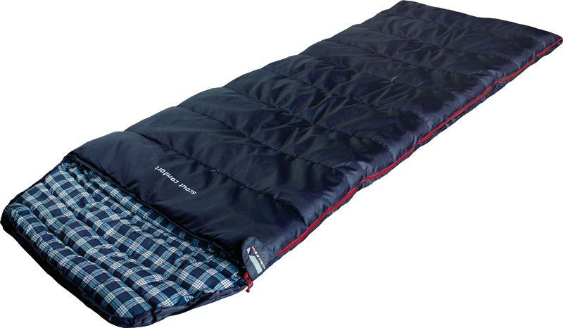 Спальный мешок-одеяло High Peak Scout Comfort, цвет: темно-синий, левосторонняя молния67742Спальный мешок High Peak Scout Comfort можно использовать как для летних пеших путешествий, так и для семейных кемпинговых выездов. По размеру спальник подойдет как для юниоров, так и для взрослых ростом менее 185 см. Спальники, имеющие правую и левую молнию, могут состегиваться в один большой спальник. Внутренняя ткань спальника шелковистая и очень приятная на ощупь. На боковой молнии два бегунка, которые позволяют расстегнуть спальник со стороны ног и сделать вентиляционное окно. Чтобы холодный воздух не проникал сквозь молнию, ее закрывает тепловой клапан. Спальник утеплен одним слоем силиконизированного утеплителя Dura Loft, смешанного с холлофайбером в соотношении 70%/30% 1х250 г/м2 + 1х250 г/м2. В комплекте со спальником идет транспортировочный чехол объемом 16,6 л.