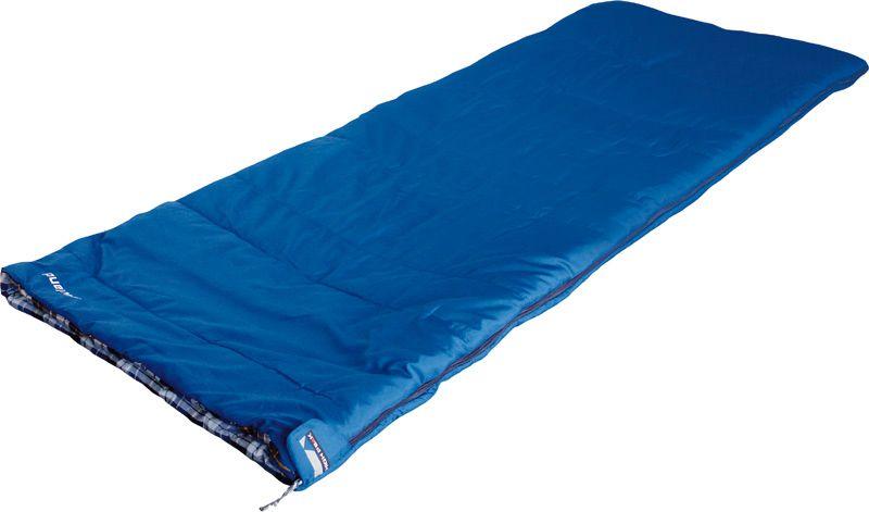 Спальный мешок-одеяло High Peak Lowland, цвет: синий, левосторонняя молния21230Классический спальник-одеяло High Peak Lowland идеально подойдет для летних семейных путешествий. Если расстегнуть боковую молнию, то получится большое одеяло 160 х 200 см. Внутренняя ткань спальника выполнена из 100% хлопковой фланели, мягкой и шелковистой. Ткань приятна телу и хорошо испаряет влагу. Вдоль молнии идет защита от закусывания замком молнии ткани спальника. Чтобы холодный воздух не проникал сквозь молнию, ее закрывает тепловой клапан. В верхней части молния фиксируется клапаном на липучке Velcro. На молнии два бегунка, которые позволяют расстегнуть спальник со стороны ног и сделать вентиляционное окно. Спальник утеплен слоем силиконизированного утеплителя Dura Loft, смешанного с холлофайбером в соотношении 70%/30% Верх 1х200 г/м2 + Низ 1х200 г/м2. В комплекте со спальником идет транспортировочный чехол.