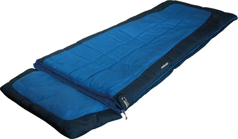 Спальный мешок-одеяло High Peak Camper, цвет: синий, темно-синий, левосторонняя молния21240High Peak Camper - универсальный спальный мешок с отстегивающимся подголовником. Вы можете использовать спальник при выездах на природу, а после, отстегнув подголовник, как домашнее одеяло. Спальный мешок увеличенной ширины: если расстегнуть молнию, то получится одеяло шириной 180 см и длиной 230 см. Внешняя ткань спальника выполнена из шелковистого полиэстера, а внутренняя ткань состоит из хлопка и полиэстера. Вдоль молнии идет защита от закусывания замком молнии ткани спальника. Чтобы холодный воздух не проникал сквозь молнию, ее закрывает тепловой клапан. В верхней части молния фиксируется клапаном на липучке Velcro. На молнии два бегунка, которые позволяют расстегнуть спальник со стороны ног и сделать вентиляционное окно. Спальник утеплен слоем силиконизированного утеплителя Dura Loft, смешанного с холлофайбером в соотношении 70%/30% Верх 2х150 (300) г/м2 + Низ 2х150 (300) г/м2. В комплекте со спальником идет транспортировочный чехол.