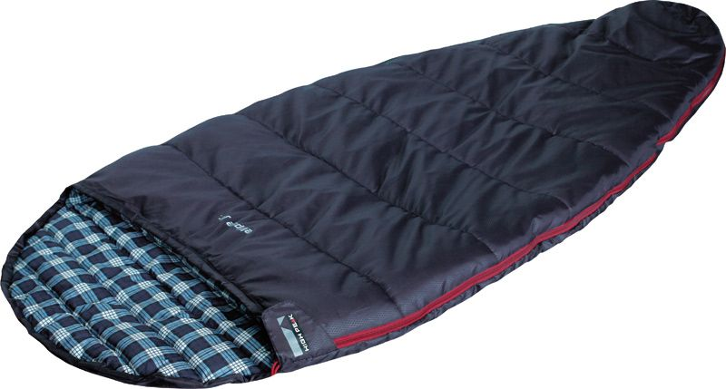 Спальный мешок High Peak Ellipse Junior, цвет: темно-синий, левосторонняя молния010-01199-23Спальник High Peak Ellipse Junior - это версия летнего спального мешка для детей и подростков. Не рекомендуется использовать данный спальник при температуре ниже + 14°С. Внутренняя ткань спальника шелковистая и очень приятная на ощупь. На боковой молнии два бегунка, которые позволяют расстегнуть спальник со стороны ног и сделать вентиляционное окно. Чтобы холодный воздух не проникал сквозь молнию, ее закрывает тепловой клапан. Спальник утеплен одним слоем силиконизированного утеплителя Dura Loft, смешанного с холлофайбером в соотношении 70%/30% 1х200 г/м2 (200г/м2) + 1х200 г/м2 (200 г/м2). В комплекте со спальником идет компрессионный транспортировочный чехол объемом 6,6 л.