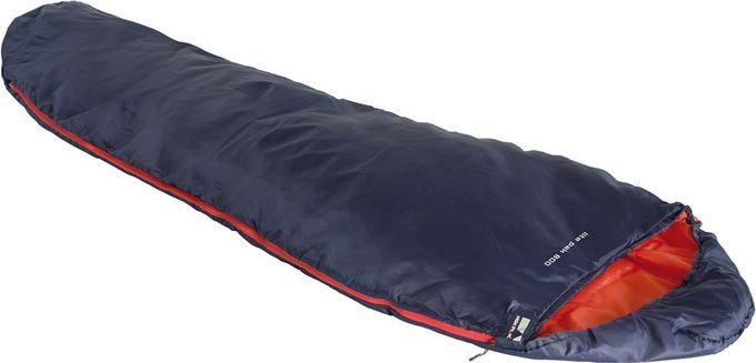 Спальный мешок High Peak Lite Pak 800, цвет: синий, оранжевый, левосторонняя молния67742Сверхлегкий и компактный спальник High Peak Lite Pak 800 для легкоходов предназначен для летних путешествий. Мешок имеет полноценный капюшон, защищающий вашу голову в прохладную ночь. В верхней части молния фиксируется клапаном на липучке Velcro. На молнии два бегунка, которые позволяют расстегнуть спальник со стороны ног и сделать вентиляционное окно. Спальник утеплен высокоэффективным полым волокном DuraLoft с силиконовым покрытием волокон. Плотность утеплителя равна 150 г/м2 с обеих сторон спальника. В комплекте со спальником идет транспортировочный чехол. Объем чехла 5,2 л.