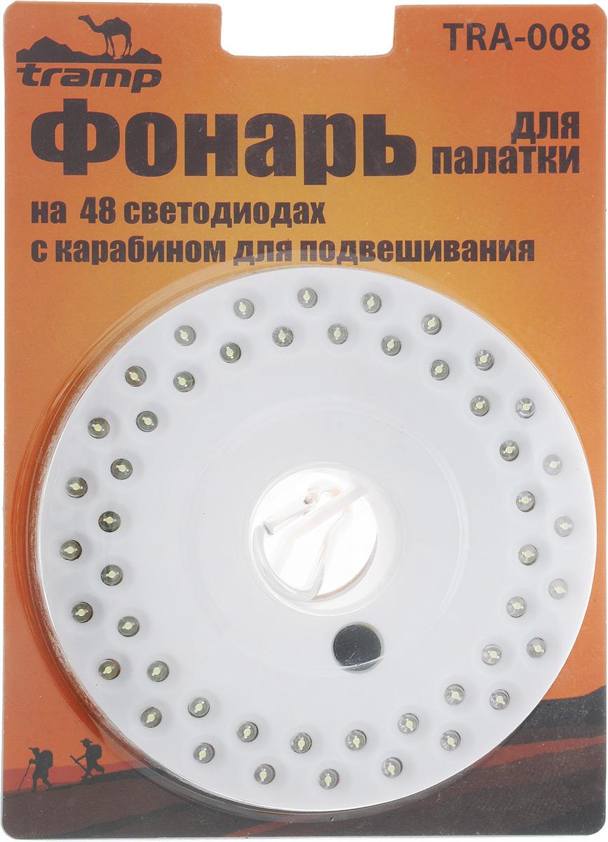 Фонарь для палатки Tramp, цвет: белый67742Фонарь Tramp применяется для освещения палатки в походах или на рыбалке. Работает от трех пальчиковых батареек типа АА. Фонарь оснащен карабином для подвешивания и имеет 3 режима работы. Кнопка включения расположена таким образом, что не позволит случайно включить фонарик.Количество диодов: 48.Диаметр корпуса: 13,5 см.