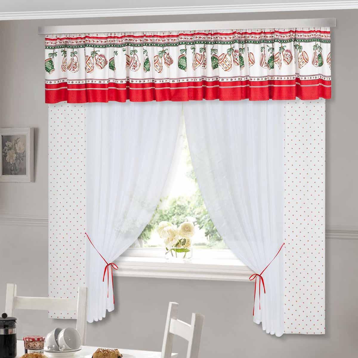 Комплект штор ТД Текстиль Чашки, на ленте, цвет: белый, красный, зеленый, высота 180 смBH-UN0502( R)Шторы с набивным рисунком.