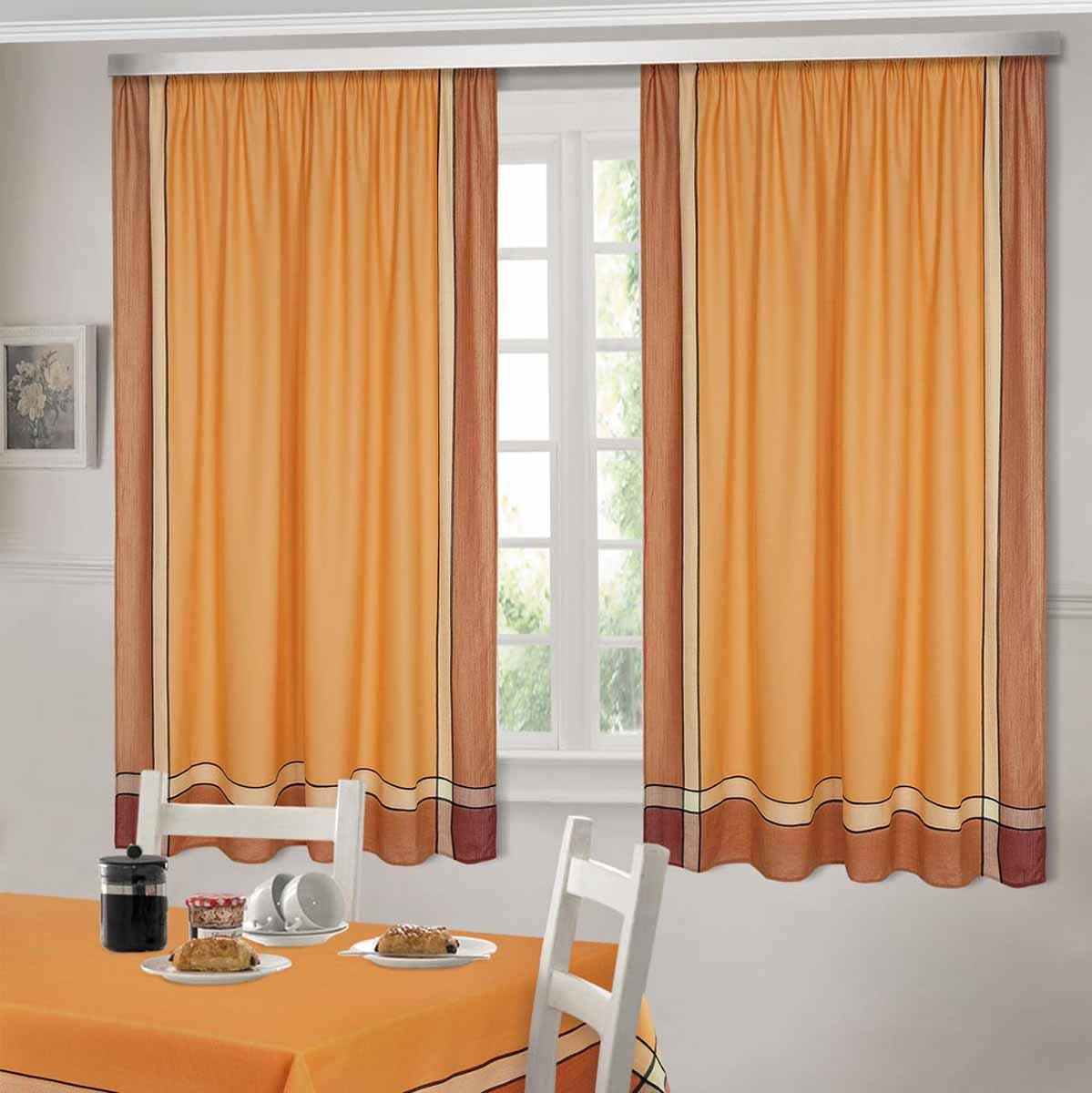 Комплект штор ТД Текстиль Шик, на ленте, цвет: оранжевый, высота 180 смDW90Комплект штор Шик изготовлен из полиэстера под лен. Шторы крепятся на карниз при помощи ленты, которая поможет красиво и равномерно задрапировать верх.