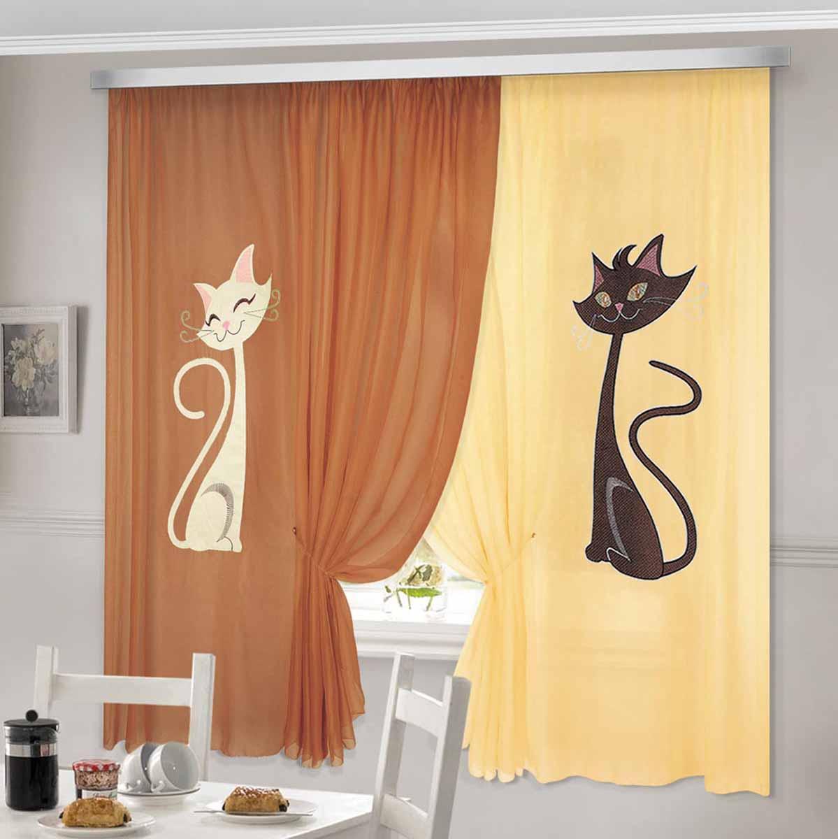 Комплект штор ТД Текстиль Кэти, на ленте, цвет: коричневый, желтый, высота 180 см92330Шторы выполнены из вуалевого полотна с аппликацией в виде кошек. Стирать аккуратно, не более 30-40 градусов. Цвета в ассортименте.