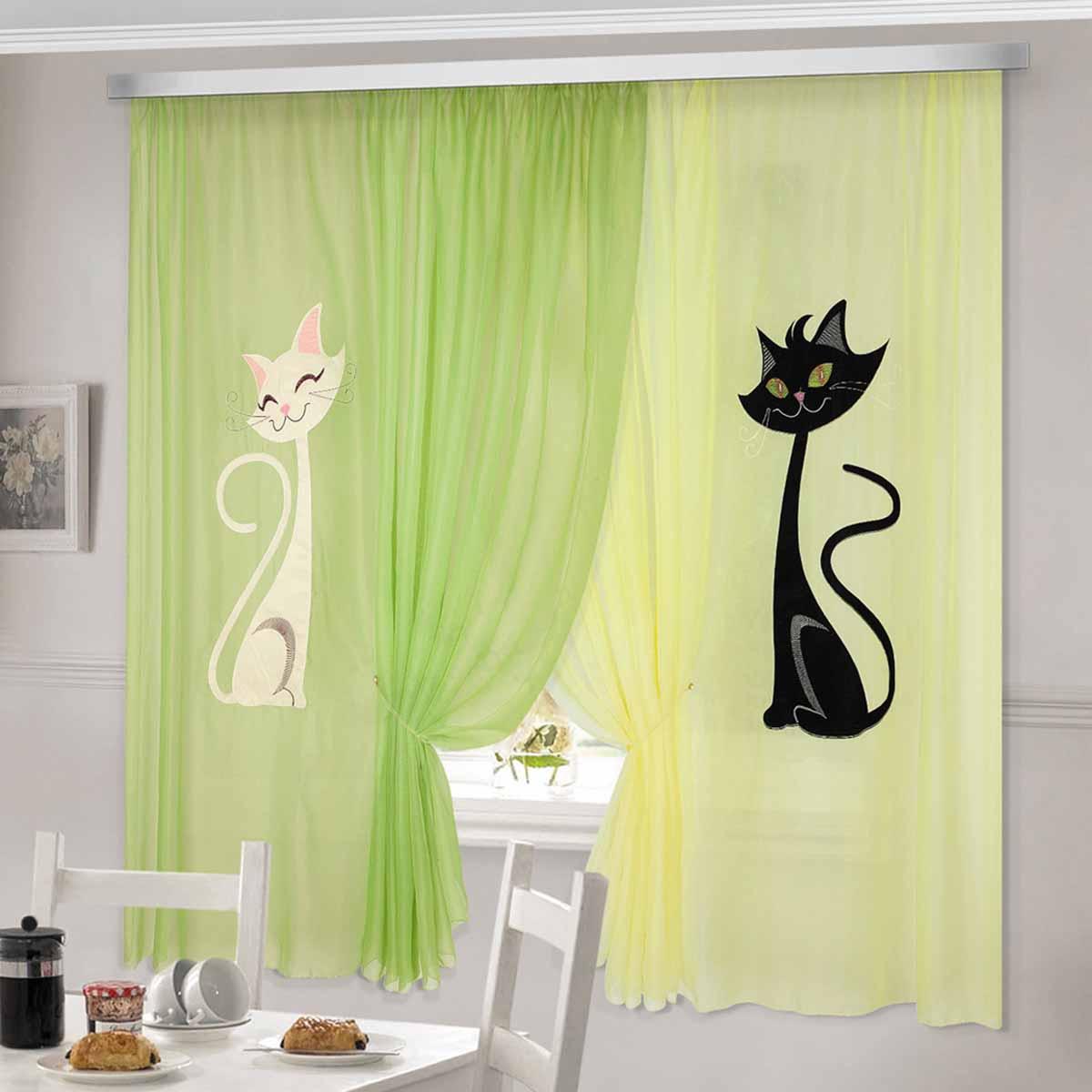 Комплект штор ТД Текстиль Кэти, на ленте, цвет: зеленый, желтый, высота 180 смKGB GX-3Шторы выполнены из вуалевого полотна с аппликацией в виде кошек. Стирать аккуратно, не более 30-40 градусов. Цвета в ассортименте.