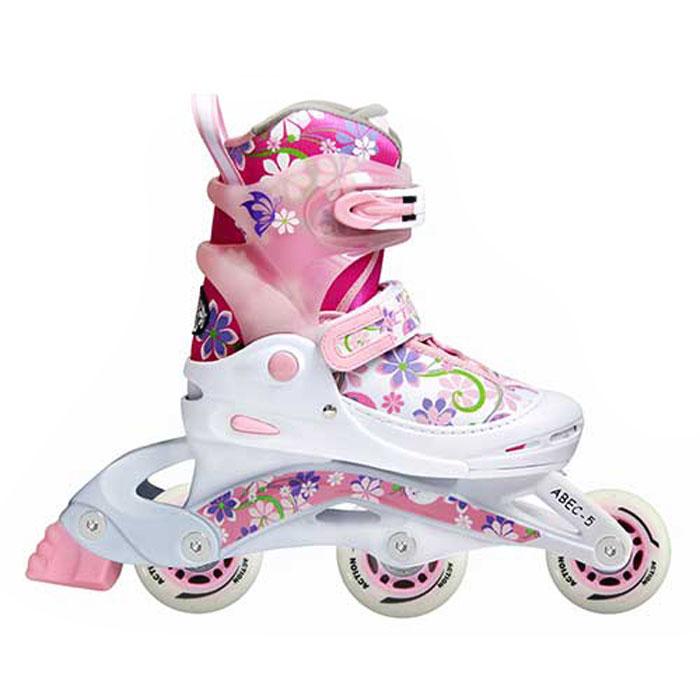 Коньки роликовые Action  PW-717 , раздвижные, цвет: белый, розовый, фиолетовый. Размер 38/41 - Ролики