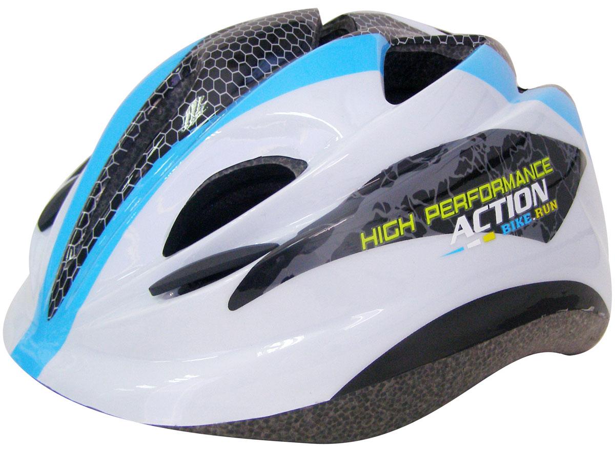 Шлем защитный Action. Размер XS. PWH-270PWH-270Шлем Action предназначен для защиты головы во время катания на роликовых коньках и велосипеде. Шлем выполнен из ПВХ, внутренняя часть - из пенополистирола. Имеются отверстия для вентиляции головы.Преимущества шлема PWH-270:- небольшой вес;- наличие крепежных ремешков;- наличие отверстий для вентиляции головы; удобная анатомическая форма и отсутствие дополнительных элементов, препятствующих обзору роллера.Размер: XS (48-51).