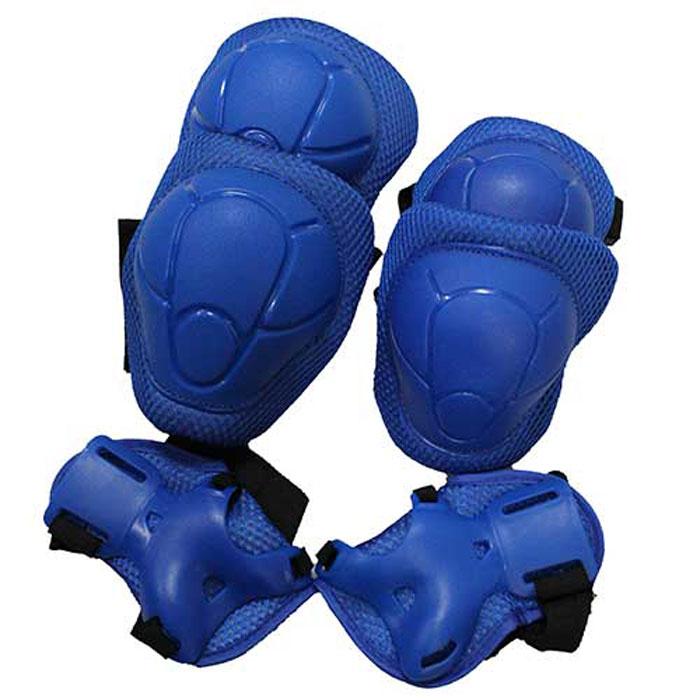 Комплект защиты  Action , для катания на роликах, цвет: синий. ZS-100. Размер S - Защита