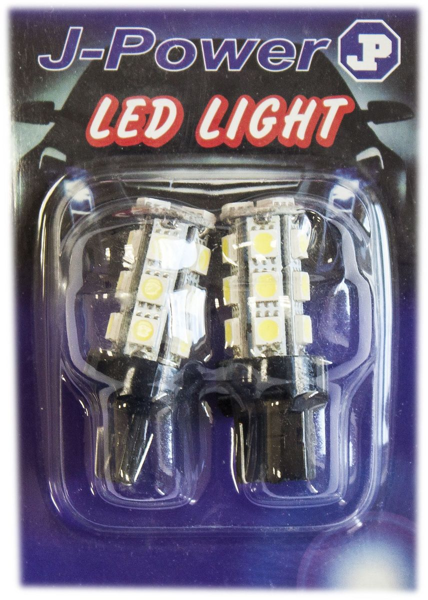 Автолампа светодиодная Jpower, 2 шт. T20-18SMD-5050.2112825Светодиодные лампы T20 имеют два контакта и 18 светодиодов, обычно используются в подворотниках или задних габаритных огня в стоп сигналах. Имеет долгий срок службы.