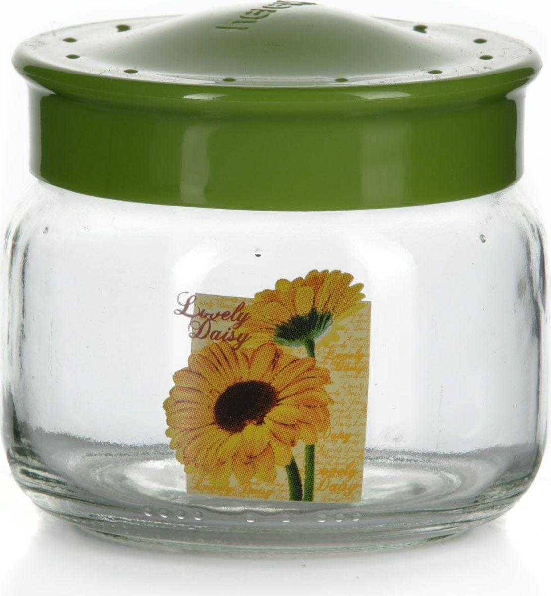 Банка для сыпучих продуктов Herevin, 400 мл. 171018-000VT-1520(SR)Емкость прозрачная с рисунком - гербера желтая и салатовой крышкой, V=400 мл, 92*92*90 мм