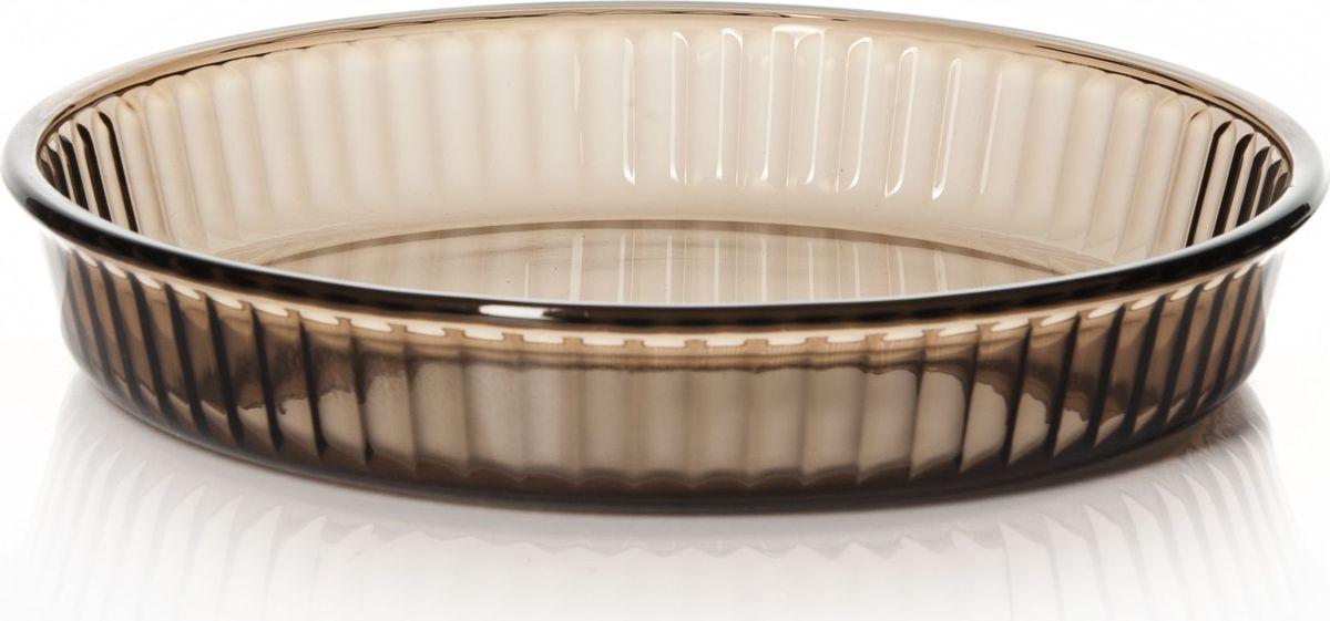 Форма для запекания Pasabahce, цвет: коричневый, диаметр 26 см. 59044BR391602Круглая форма Pasabahce выполнена из жаропрочного стекла, что позволяет использовать ее для запекания различных блюд. Форма не вступает в реакцию с готовящейся пищей, не выделяет никаких вредных веществ и не подвергается воздействию кислот и солей. Из-за невысокой теплопроводности пища в стеклянной посуде гораздо медленнее остывает. Поэтому в такой форме вы можете как приготовить пищу, так и изящно подать ее к столу, не меняя посуды. Благодаря прозрачности стекла за едой можно наблюдать при ее готовке. Стеклянная посуда очень удобна для приготовления и подачи самых разнообразных блюд.Форма дополнена рельефом с внутренней стороны. Посуду можно использовать в СВЧ и духовом шкафу при температуре до +300°С, ставить в морозилку при температуре -40°С, а также мыть в посудомоечной машине. Диаметр формы: 26 см.