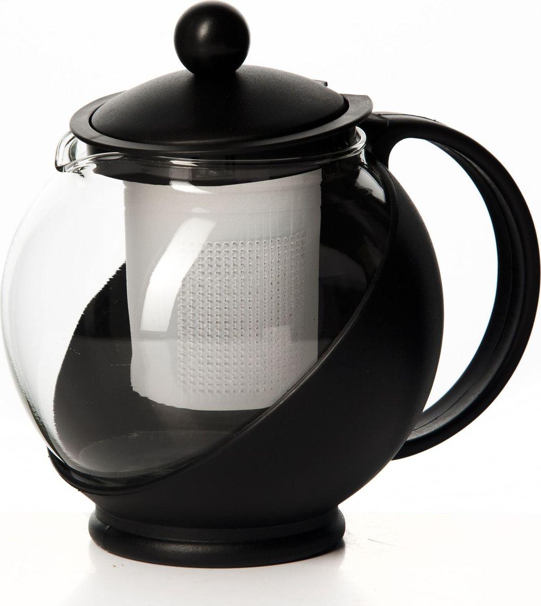 Чайник заварочный Gotoff, цвет: черный, 750 мл. XY-751PVT-1520(SR)Чайник 750 мл круглый 16*14 см